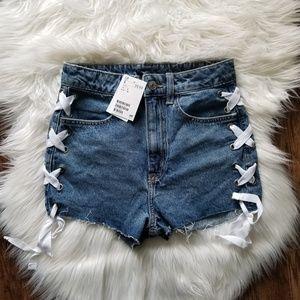 H & M Blue Denim Lace Shorts